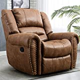 CANMOV Recliner Chair Breathable PU Leather, Classic and Traditional Manual Recliner Chair with Arms and Back Single Sofa for Living Room, Nut Brown