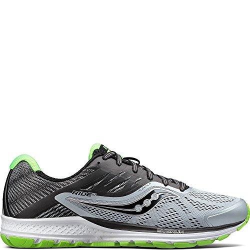 Saucony Men's Ride 10 Running Shoe, Grey Black 27, 11.5 M US