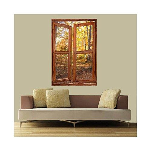 Stickers trompe l'oeil fenêtre Forêt d'automne - L 60cm x H 90cm