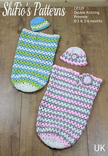 Haak Patroon voor Babies Granny Stitch Cocoon en Hoed in 3 maten, Premature, 0-3mths en 3-6mths, Jongens, Meisjes, Dubbele Breien, UK Terminology CP329