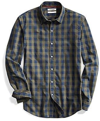 Amazon Brand - Goodthreads Men's Slim-Fit Long-Sleeve Gingham Plaid Poplin Shirt, Green Depths, Medium