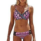 Bañador Para Mujer Estilo Étnico Retro Bikini De Moda Mode De Marca Set Tankini Halter Traje De Baño Sujetador Acolchado Pantalones Cortos De Natación 2 Ropa De Playa ( Color : Rosa (Neu) , Size : L )