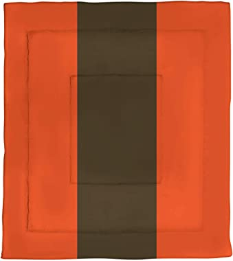 ArtVerse NFS Cleveland Football Stripes Microfiber Comforter - Twin XL Size, 68 x 92, Orange and Brown
