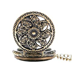 Vintage Chain Pocket Watch, Bronze Sun Flower Retro Roman Numerals Quartz Fob Pocket Watch With Necklace Chain Gift #3