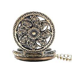 Vintage Chain Pocket Watch, Bronze Sun Flower Retro Roman Numerals Quartz Fob Pocket Watch With Necklace Chain Gift #3