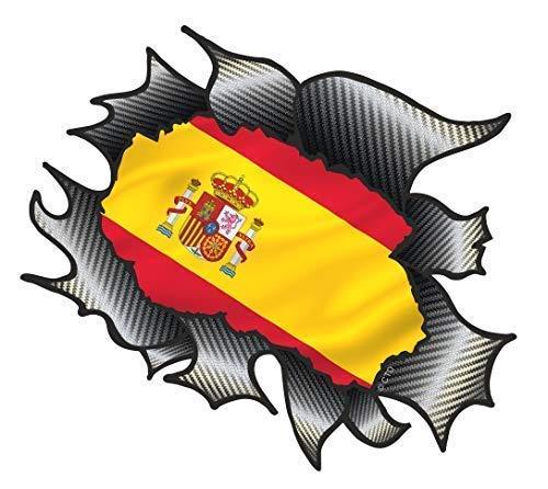 Classique Carbone Déchirure Métal Déchiré Design avec Espagne Espagnol Drapeau Motif Autocollant Vinyle Décalcomanie Voiture 105x130mm