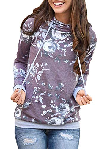 Barlver Women's Casual Hoodies Long Sleeve Sweatshirts Cowl Neck Drawstring Hooded Pullover Top with Pockets D-purple