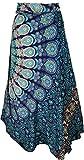 GURU SHOP Langer Wickelrock, Ethno Flamencorock mit Mandala Motiv, Damen, Blau, Synthetisch, Size:One Size, Röcke/Lang Alternative Bekleidung