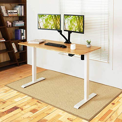 Flexispot Adjustable Desk, Electric Standing Desk Sit Stand Desk, 48 x 24 Inches Bamboo Desk Top Home Office Table Stand up Desk(White Frame+Rectangular Top)