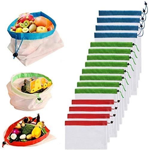 Frmarche 16PCS Wiederverwendbare Einkaufstasche Mesh Einkaufstaschen Aufbewahrungsbeutel Umweltfreundlich Waschbar Obst Gemüse Produzieren Netztaschen mit Zugschnüre für Einkaufen