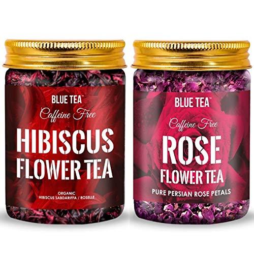 BLUE TEA – Combo- Rose Flower Tea & Egyptian Hibiscus Flower | Herbal Tea – Combo Pack | Caffeine Free Herbal Tea | 150g – 200 Cups