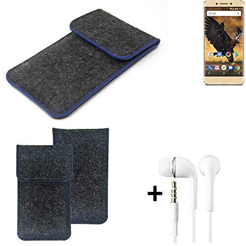 K-S-Trade Filz Schutz Hülle Für Allview P8 Pro Schutzhülle Filztasche Pouch Tasche Handyhülle Filzhülle Dunkelgrau, Blauer Rand Rand + Kopfhörer