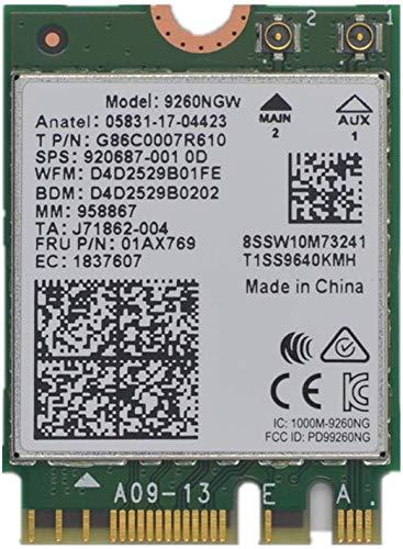 9260NGW WiFi Card,Dual Band Wireless- 9260AC AC 9260 NGFF WiFi Card M.2 NGFF 2.4/5GHz(160Mhz) Bluetooth 5.0 Wireless WiFi Card 1.73Gbps Gigabit