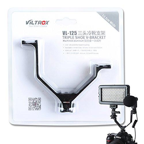 VILTROX® Viltrox 12,5 cm/12,4 cm Triple Mount Hot Shoe V Halterung für Videoleuchten, Mikrofone oder Monitore, v-Bracket