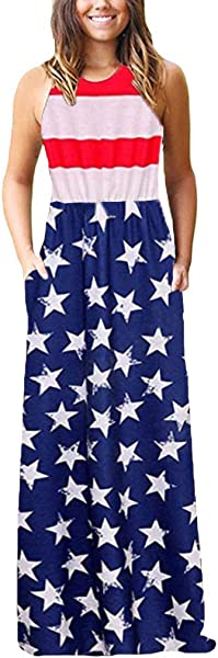 Staron 4th Of July Maxi Long Dress For Women Women S USA American Flag Casual Loose Pocket Long Dress Maxi Dresses