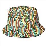 shifeiwanglu Fischerhüte Hüte Mützen, Wave Hand Drawn Reversible Bucket Hat Outdoor Travel...