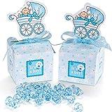 50 Stück Gastgeschenk Süßigkeiten Taufe Schachtel mit 50 Mini Dekoschnuller, Kinderwagen Muster Candy Box für Baby Junge Geburtstag Taufe Neugeborenen Babyparty Shower Konfirmation Kommunion Blau