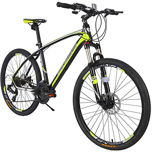 Merax 26' Aluminum 24-Speed Mountain Bike with Disc Brakes Lightweight Bicycle (Gray&Green)