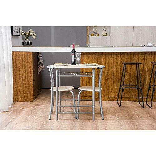 BaiHogi Mesa de Cama, Juego de Comedor de Estilo Caliente de 3 Piezas Mesa Superior de Metal y Comedor de Cocina de 2 sillas