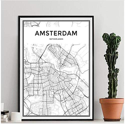 Mulmf Amsterdam Stadskaart Moderne Canvas Schilderij Nordic Posters en Prints Muurkunst Foto's voor Woonkamer Woonkamer Woondecoratie - 50X70Cm/Unframed