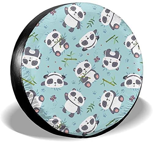 MODORSAN Panda Cute Cartoon - Cubierta para llanta de Repuesto,poliéster,Universal,de 14 Pulgadas,para llanta de Repuesto,para Remolque,RV,SUV,camión,camión,camioneta,Viaje,Remolque,Accesorios