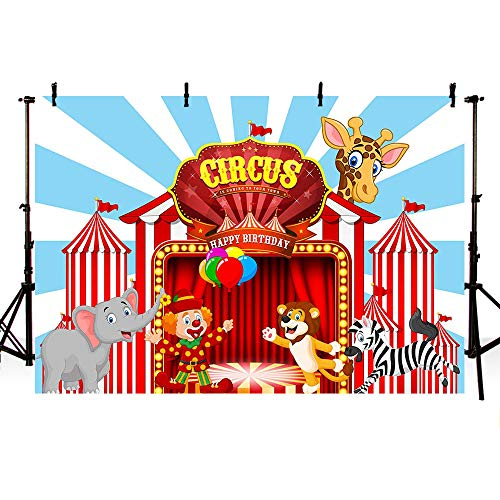 MEHOFOND Circus Birthday Photo Studio Booth Background Red Stripes Animals Circus Carnival Kids Happy Birthday Party Decorations Backdrops Banner for Photography 7x5ft
