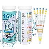 200pcs Tiras de Prueba de Agua,16in1 Tiras Piscinas,Tiras de Analisis de Agua,Tiras de prueba,Prueba de Calidad de Agua,comprobador de pH para suelo,Papel Reactivas Piscina pH(Azul)
