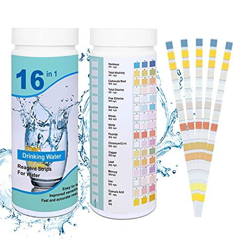 200pcs Tiras de Prueba de Agua,16 in 1 Tiras Piscinas,Tiras de Analisis de Agua,Tiras de Prueba de PH,Prueba de Calidad de Agua,comprobador de pH para suelo,Papel Reactivas Piscina pH(Azul)
