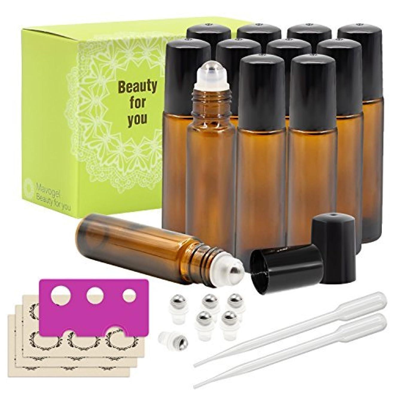 クスクス脅威傾向があるMavogel Glass Roll-on Bottles - 10ml, 12 Pack, Amber, Extra Stainless Steel Roller Balls, Essential Oil Opener, Droppers, and Labels Included [並行輸入品]