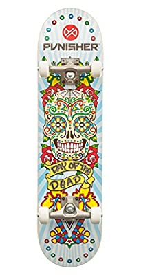 """Punisher Skateboards Day of The Dead 31.5"""" Dual-Kick with Concave Complete Skateboard, White"""