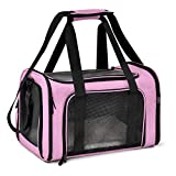Henkelion Cat Carriers Dog Carrier Pet Carrier for Small Medium Cats Dogs Puppies up to 15 Lbs, TSA Airline Approved Small Dog Carrier Soft Sided, Collapsible Waterproof Travel Puppy Carrier - Pink