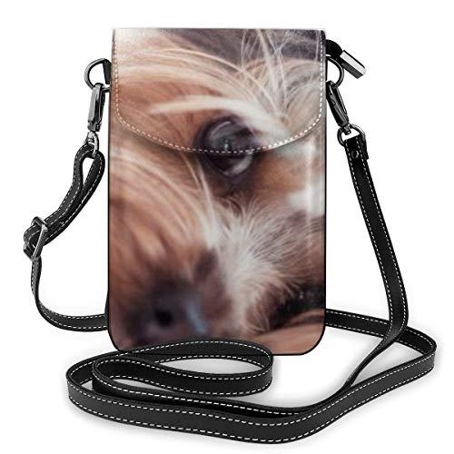 Borsa per telefono cellulare Crossbody Yorkshire Terrier Donne Pu Leather Fashion Bag con cinturino regolabile