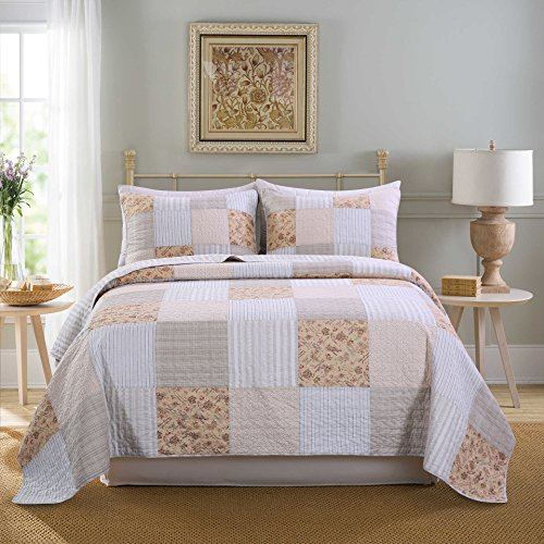 SLPR Country Lane 3-Piece Patchwork Cotton Bedding Quilt Set - Queen with 2 Shams | Farmhouse Country Quilted Bedspread