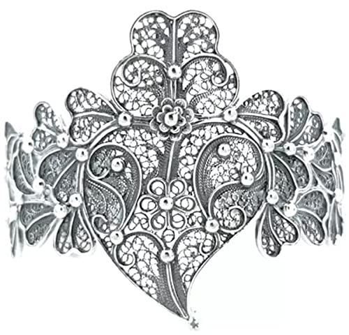 Casa Padrino Brazalete de Lujo para Damas Plata - Pulsera de Plata esterlina Hecha a Mano - Joyería Elegante para Damas - Joyería para Brazo de Damas - Colección de Lujo