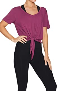 Rockwear Activewear Women's Nevada Tie Front V Neck Tee Mulberry 18 from Size 4-18 for T-Shirt Tops