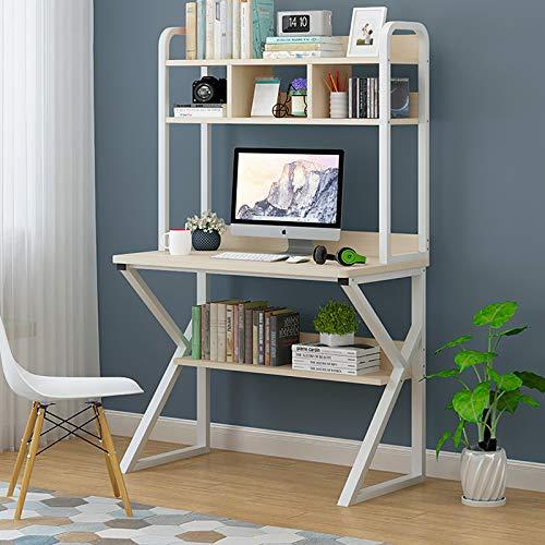 Escritorio de ordenador moderno y simple, compacto de pequeño espacio, montaje rápido con estante de almacenamiento, mesa multifuncional, color blanco, 80 x 50 x 152 cm