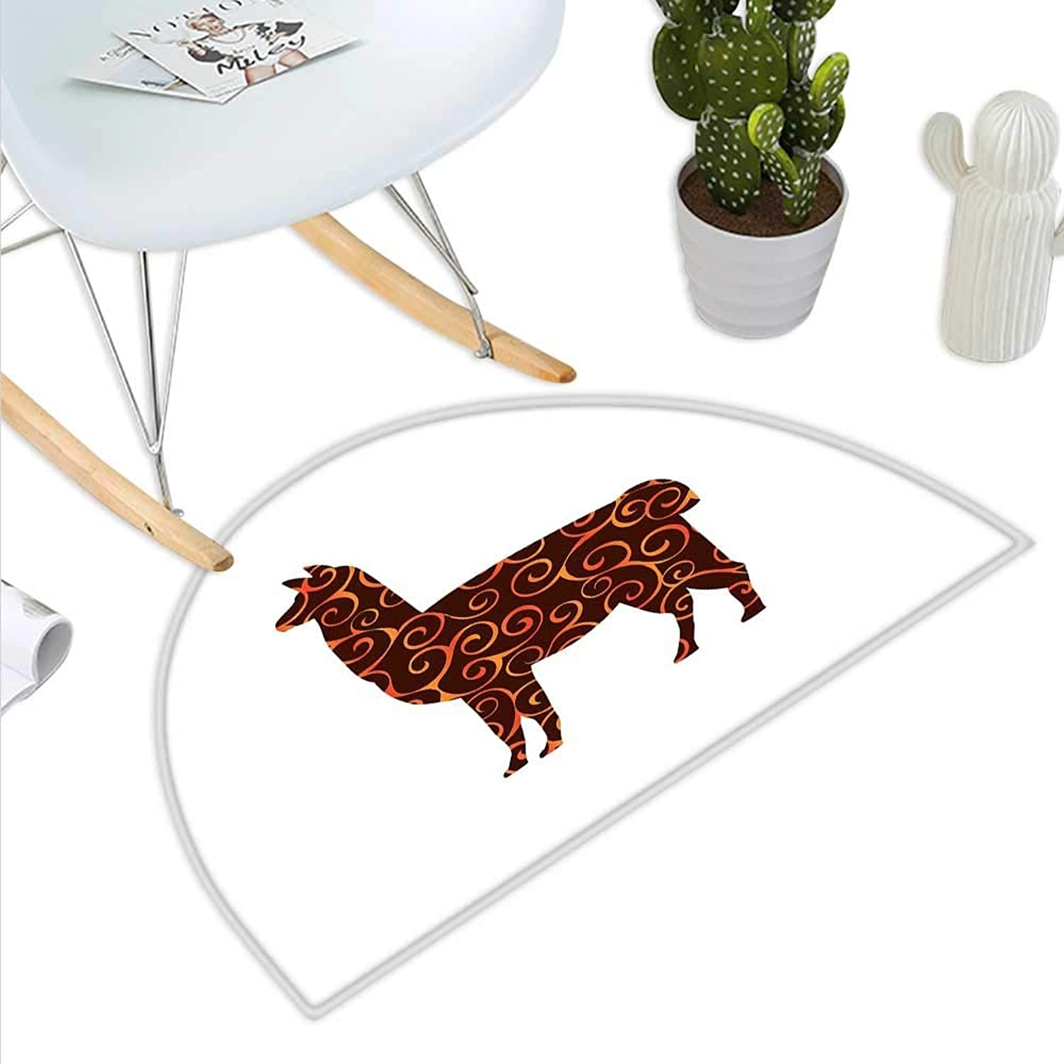 Llama Semicircle Doormat South American Domestic Animal Silhouette with Swirled Lines Abstract Alpaca Design Halfmoon doormats H 47.2  xD 70.8  orange Brown