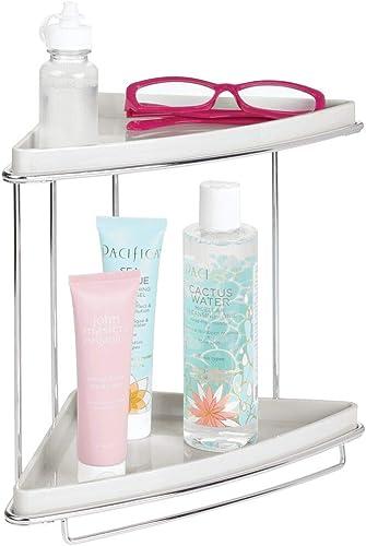 mDesign Metal 2-Tier Corner Storage Organizing Caddy Stand for Bathroom Vanity Countertops, Shelving or Under Sink - ...