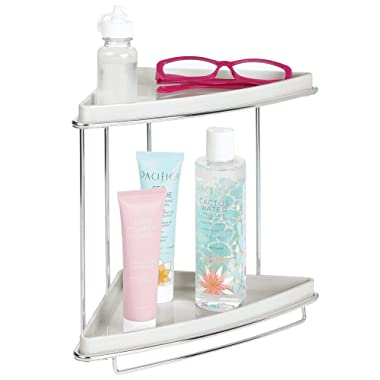 mDesign Metal 2-Tier Corner Storage Organizing Caddy Stand for Bathroom Vanity Countertops, Shelving or Under Sink - Free Standing, 2 Shelves - Light Gray