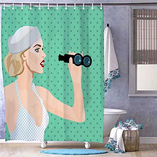 DKISEE - Prismáticos de Tela de poliéster con Ganchos, diseño de Mujer Mirando a través de la Venta, Lavable, 72 x 72 Pulgadas