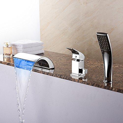 BFDMY Chrome Wannenrandarmatur Wasserhahn, mit Keramik Ventil 1-Handle-3-Löcher Sets,Moderne Badewanne LED Wasserfall Wannen Armatur mit Handbrause,Silverfaucet