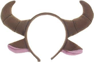 Pagreberya Bull Horns Headband - Goat Costume - Cow Headband with Ears