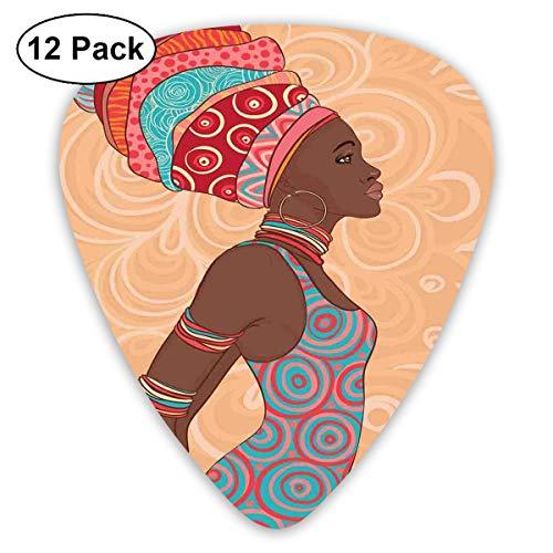 Guitar Picks12pcs Plectrum (0.46mm-0.96mm), Ethnic Tribal Woman In Native Clothes Savannah Trends Bohemian Culture Art Image,For Your Guitar or Ukulele