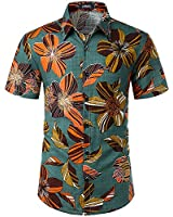 JOGAL Men's Flower Casual Button Down Short Sleeve Hawaiian Shirt Dark OliveGreen Large