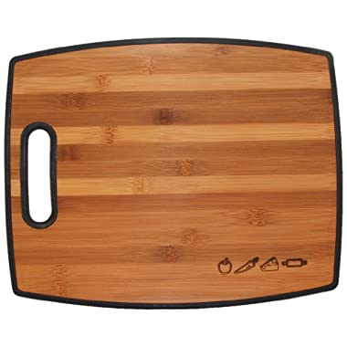 Totally Bamboo Poly-Boo Reversible Bamboo and Poly Cutting Board, 15  x 12