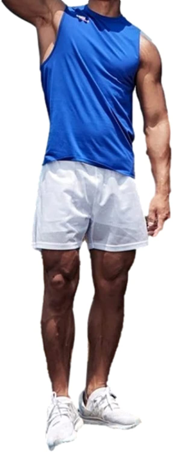 Katenyl Men's Quick-Drying Breathable Casual Double-Layer Mesh Shorts Fashion Casual