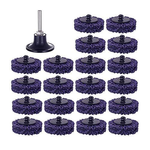 Dasorende Paquete de 20 Discos de Tiras FáCiles Roloc de Cambio RáPido de 2 Pulgadas + 1 Paquete de Soporte de 1/4 Pulgadas para Eliminar el óXido, Tiras de Pintura, Limpiar las Soldaduras