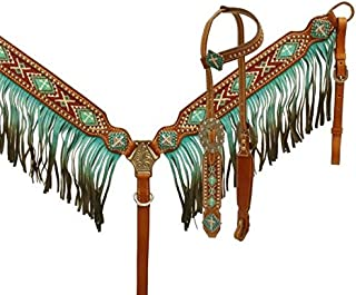 Showman Ombre Fringe Headstall and Breast Collar Set with Beaded Cross Inlay