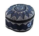 Alwee ALW006 Muslim Prayer Headware Kufi Hat Men Islam Skull Cap Ramadan Eid Gift (24 inch (61 cm.), Blue)