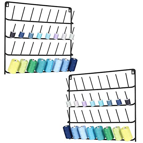 HAITARL 2 Pack 32-Spool Sewing Thread Rack, Wall-Mounted Sewing Thread Holder with Hanging Tools - Metal Black